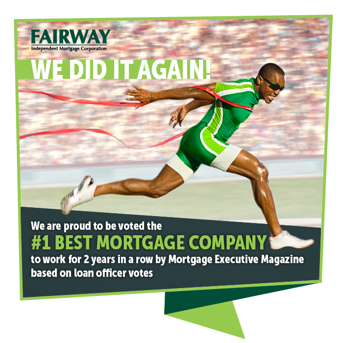 A photo of Usain Bolt running through the finish line with the text below saying We are proud to be voted the #1 best Mortgage company to work for 2 years in a row in white text