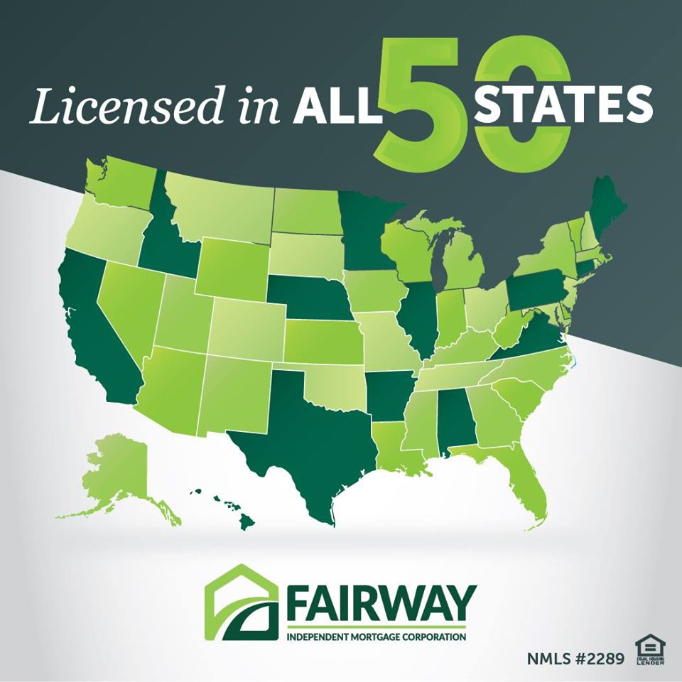 Bold text that says Licensed in all 50 states in green as well as the United States in different shades of green